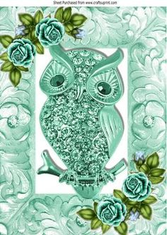 turq sparkle owl with turq roses in ornate frame A4 on Craftsuprint - Add To Basket!