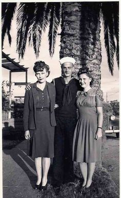 In 1943, a sailor was photographed with his wife and mother in Oxnard, CA.