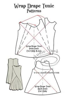 FREE #PatternMaking Instructions Wrap Drape Tunic   #PatternPuzzle #TuckedDrape