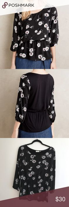 "Anthropologie Deletta Floral Wished Blooms Blouse Preowned condition Anthropologie Deletta Floral Wished Blooms Tiered Blouse. Chest 19"" from pit to pit. Length 25"". Cinched at waist. Cold sleeves. Anthropologie Tops Blouses"