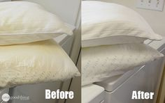 Whiten yellowed pillows