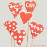 Cardboard Valentines Day Hearts Craft