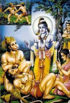 Ram helping Sugriv with Hanuman..and Bali on ground