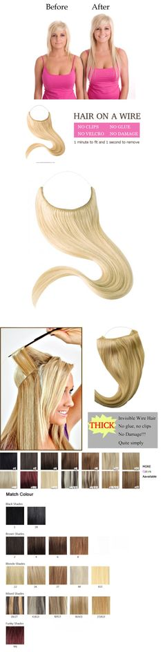 Wig and Extension Supplies: Halo Style Remy Hair Invisible Wire Human Hair Extension Hair On A Wire 16-22 -> BUY IT NOW ONLY: $38.75 on eBay!