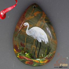 Necklace Pendant Hand Painted Crane Natural Gemstone   ZL806285 #ZL #Pendant