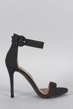 Shoe Republic LA Polka Dot Ankle Strap Heel