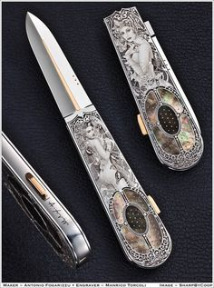 Photos - SharpByCoop's Gallery of Handmade Knives Swords And Daggers, Knives And Swords, Pretty Knives, Engraved Knife, Fantasy Sword, Knife Art, Handmade Knives, High Art, Custom Knives