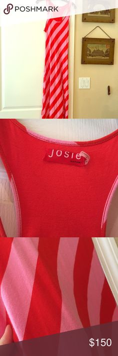 Josie Natori red and pink Maxi dress Loved but in good condition! Josie Natori red and pink Maxi dress josie natori Dresses Maxi
