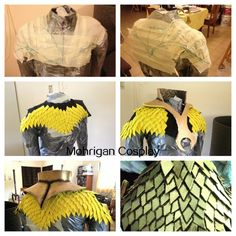 Scales top Tutorial Page: This was made for my Redeemer cosplay Used plastic wrap and masking tape to make the patter for the fabric piece. Cut the fabric piece and. Demon Costume, Costume Armour, Costume Makeup, Costume Halloween, Diy Costumes, Cosplay Costumes, Cosplay Armor, Cosplay Diy, Larp