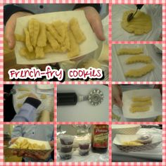 """French-fry cookies!! Basic cookie dough recipe, cut into strips to resemble fries, place in mini fries-boats and add a mini container of jelly for """"ketchup"""""""