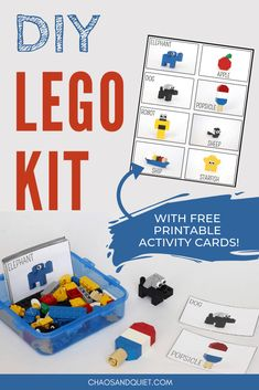 Travel LEGO Kit (With 32 FREE Printable Activity Cards!) DIY LEGO kit with 32 printable activity cards! Includes LEGO easy build cards, LEGO challenge cards, and LEGO pattern cards. Perfect for travelling with kids! Kids Travel Activities, Lego Activities, Preschool Activities, Kids Printable Activities, Lego Games, Diy Lego, Lego Craft, Lego Challenge, Challenge Cards