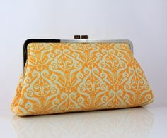 yellow damask clutch