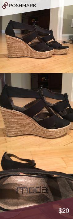 Black Cloth Wedge Shoes Black Cloth Wedges heels Moda Brand Moda Spana Shoes Wedges