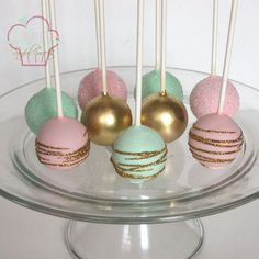 Cake pops to match the Monkey cake! #cakepops #desserts #desserttable #mint #gold #pink #glitter #discodust #metallicpops #oksanassinfulsweets #sandingsugar #girlypops #birthdaypops #desserttable #sweets #treats #softcolors #pastels #glampops #fancy #elegant