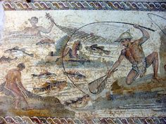 Villa Dar Buc Ammera, near Leptis Magna, is famous for its mosaics, which can now be seen in the Archaeological Museum of Tripoli. Several fishermen at work. Rome Antique, Antique Art, Roman History, Art History, Ancient Rome, Ancient History, Roman Art, Ancient Artifacts, African History