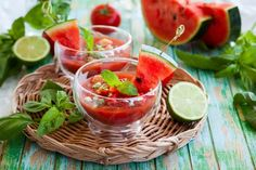 Watermelon gazpacho has become a classic cold summer soup. Gazpacho, Whole Foods, Whole Food Recipes, Watermelon Soup, Vegan Burgers, Vegan Appetizers, Meatless Monday, Vegan Dishes, Vegan Recipes Easy