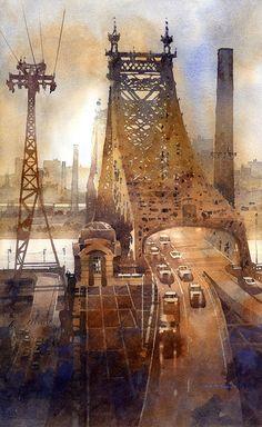 "Queensboro Bridge NYC 20"" x 12"""