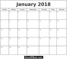 January 2018 Calendar Printable Template with holidays, January Calendar 2018 January Calendar, January Calendar, January 2018 Printable Calendar pdf