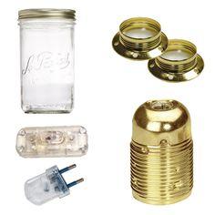 Kit lampe bocal - Bocal en verre avec capuchon couleur laiton pour vos créations de luminaires. Le bocal a une contenance d'un litre.Pour la création de vos luminaires DIY, nous vous invitons à choisir ce kit bocal, tout est inclus sauf le câble.Dans le commerce, les lampes type Bocal sont à 95 EUR, réalisez le votre pour moins de 35 EUR.Choisissez votre câble rond ou torsadé 2 fils dans la catégorie Câbles. Nous recommandons de ne pas prendre moins d'un mètre.Pour le montage, il convient de… Diy Luminaire, Led, Creations, Commerce, Baby Bedroom, Bedroom Vintage, Montage, Design Ideas, Home Decor