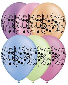 "12 pc 11"" Neon Music Note Latex Balloon Wedding Happy Birthday Party Band School"