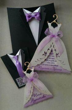 Invitación de boda traje / vestido 20