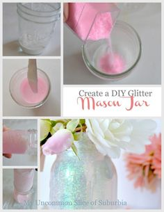 DIY Mason Glitter Jars ~Pour about an inch of Mod Podge in your jar ~Pour about 2 tablespoons of glitter on top of the mod ~Tilt the jar while turning until the mixture covers the entire jar ~If you are only making one jar place it upside down on a paper plate so any excess glue pours out. If you are making more then 1 jar, let it drip into another jar. ~Everything should be dry and ready to use within 24 hours.