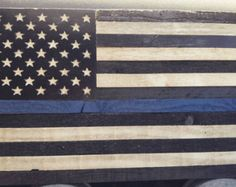 Thin Blue Line American Flag Quilt Police Officer