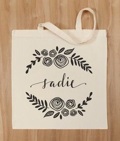 Personalized Tote Bag – Custom Calligraphy and Floral Design