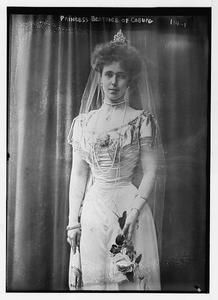 Princess Beatrice of Saxe-Coburg and Gotha (daughter of Prince Albert, Duke of Saxe-Coburg and Gotha, son of Queen Victoria, and Grand Duchess Marie Alexandrovna, daughter of Tsar Alexander II) to Alfonso de Orleans y Borbón, Infante of Spain, 5th Duke of Galliera, July 15, 1909.