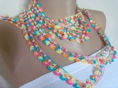 multicolor Hand Crocheted Oya Necklace by colourfulrose on Etsy, $29.20