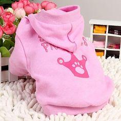 algodão spolied padrão princesa hoodie para cães de estimação (rosa, tamanhos variados) – BRL R$ 34,25