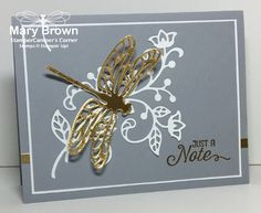 stampercamper.com - I LOVE dragonflies and I LOVE the new Detailed Dragonfly thinlits in the Occasions Mini.  It just looks so great paired with the flourish thinlit.  All the details on my blog.  Flourishing Phrases