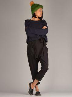 Cotton Harem Pants with Belt - Mid Crotch