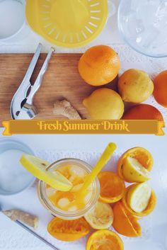 Refreshing orange lemon drink with a little twist Lemon Drink, Summer Drinks, Grapefruit, Vegan Recipes, Fresh, Orange, Sweet, Food, Drinking Water
