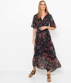 Długa sukienka z nadrukiem noir damskie - Camaïeu Short Sleeve Dresses, Dresses With Sleeves, Bohemian, Style, Fashion, Jeans Dress, Moda, Sleeve Dresses, Fashion Styles