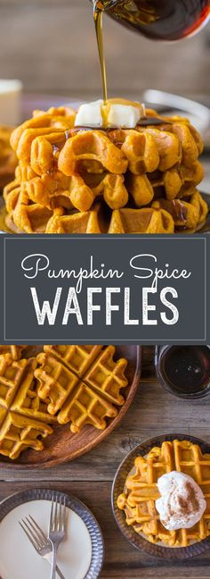 with pure pumpkin puree and coconut oil, these waffles are moist, fluffy and ready for maple syrup!Made with pure pumpkin puree and coconut oil, these waffles are moist, fluffy and ready for maple syrup! Brunch Recipes, Breakfast Recipes, Dessert Recipes, Recipes Dinner, Dinner Ideas, Dessert Weight Watchers, Pumpkin Spice Waffles, Pumpkin Pancakes, Pumpkin Breakfast