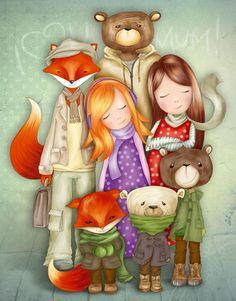 Nursery Drawings, Fox Family & Bear Family