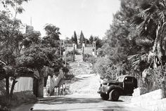 Historical photograph of the initial stairs from the German Templar Colony, at the base of Mount Carmel, to the Shrine of the Báb, circa 1952