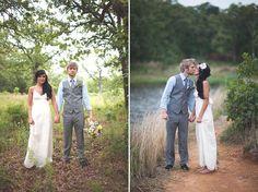 An outdoor bohemian wedding. Bride wore BHLDN #BHLDNbride