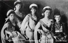 The Romanov children, Maria, Tatijana, Anastasia, Olga and Alexei.