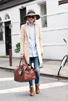Chic Street Fashion // Pair a long coat, booties, and floppy hat for a fail-safe fall or winter look that showcases your Signature Style. Learn how to get this look for less from Ave Styles.