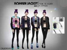 Made for: TS4 4 styles of the bomber jacket accessory by hautfashionsims4. Can be used with most tight tops/bralets. Unfortunately acc does not adhere to muscles/fat but it's still a lovely mesh to use on my medium or smaller sized sims.StandaloneCustom thumb4 style swatchesFound in Acc>Braceletmesh by HFS( ◕‿‿◕ )Download here( ◕‿‿◕ )(wait 5 secs and click SKIP)Hope you enjoy playing with these! It'd be awesome to tag me if you use the jackets in a lookbook or screen :)
