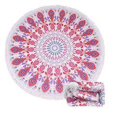 $20.99--MANDALA PINK-- (15 Patterns) Terry Round Beach Towel/Round Beach Blanket/ Round Beach Mat Roundie Tapestry/Round Yoga Mat with Fringe Tassels: Home & Kitchen