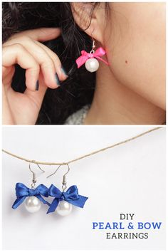 DIY Bow Pearl Earring Tutorial from Minted Strawberry.Make these easy DIY bow and pearl earrings with your choice of a video or written tutorial.