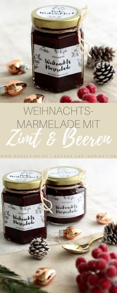 Christmas jam recipe with berries, cinnamon and beautiful labels .- Weihnachtsmarmelade Rezept mit Beeren, Zimt und schönen Etiketten Christmas jam recipe with berries, cinnamon and nice labels - Christmas Jam, Christmas Brunch, Chutneys, Winter Marmelade, Cinnamon Cream Cheeses, Pumpkin Spice Cupcakes, Vegetable Drinks, Healthy Eating Tips, Healthy Drinks