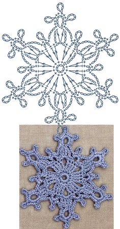 No.7 Large Snowflake Lace Crochet Motifs / 눈송이 모티브도안