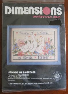 Friends of a Feather Counted Cross Stitch Kit Dimensions #6524 USA Vtg. 1988 #Dimensions #CountedCrossStitch