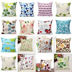 Bright Colors Linen Throw Pillow Cases Sofa Car Home Decor Cushion Cover Square  #Unbranded