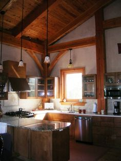 Kitchen in timber frame home on Dewees Island