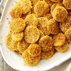 Baked Parmesan Breaded Squash Recipe -Yellow summer squash crisps beautifully when baked. You don't have to turn the pieces, but do keep an eye on them. — Debi Mitchell, Flower Mound, Texas
